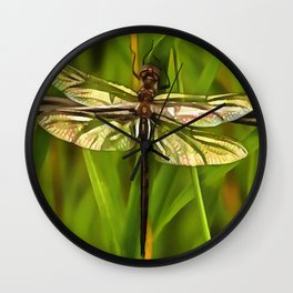 Dragonfly In Brown And Yellow Wall Clock