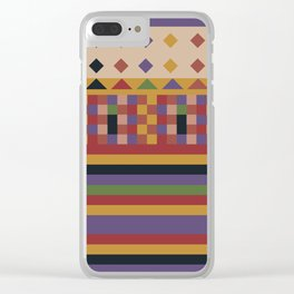 Stripes and squares ethnic pattern Clear iPhone Case