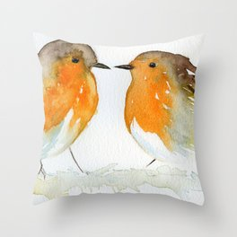Robins in Love Throw Pillow