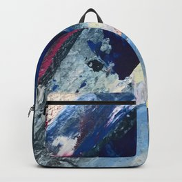 Flourish [1]: a vibrant abstract mixed-media piece in blues, magenta, and gold Backpack