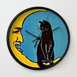 Black Cat & Moon Wall Clock