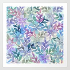 watercolor Botanical garden Art Print