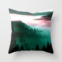 mountains Throw Pillows featuring Misty Mountains Morning : Magenta Mauve Teal by 2sweet4words Designs