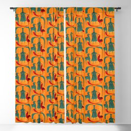 Ethnic pattern with woman, chicken, horse Blackout Curtain