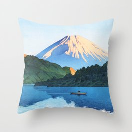 Kawase Hasui - Hakone, Ashino Lake - Digital Remastered Edition Throw Pillow