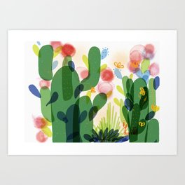 cacti life   Happy modern art   Wall art and  cubicle decor Art Print