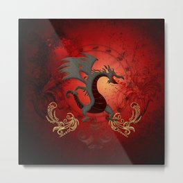 Funny dragon with floral elements Metal Print