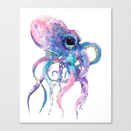 Octopus, Pink purple sea animals design underwater scene painting Canvas Print