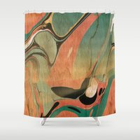 utah Shower Curtains featuring Abstract Painting ; Utah #2 by bialy kot art