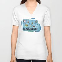 kansas V-neck T-shirts featuring KANSAS by Christiane Engel