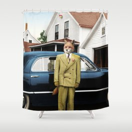 Mr. Fox posing with his new car Shower Curtain