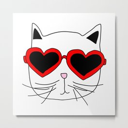 Cat Heart Sunglasses Metal Print