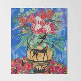 Tropical Protea Bouquet with Toucans in Greek Horse Urn on Ultramarine Blue Throw Blanket