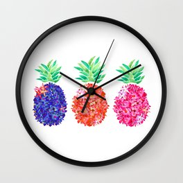 Floral Pineapples Wall Clock