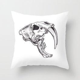 Sabertooth Cat Skull drawing Throw Pillow