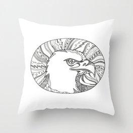 Bald Eagle Head Doodle Art Throw Pillow