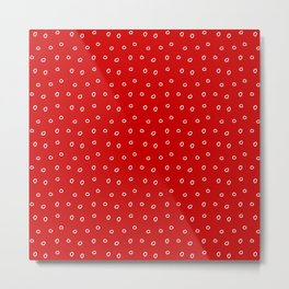 Red background with white minimal hand drawn ring pattern Metal Print