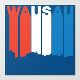Red White And Blue Wausau Wisconsin Skyline Canvas Print