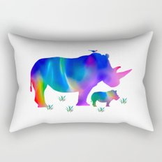 Rhino mom and baby Rectangular Pillow