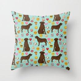 Chocolate lab emoji labrador retrievers dog breed Throw Pillow