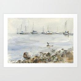 Lake Tahoe Marina Watercolor Art Print