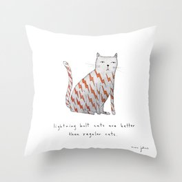 lightning bolt cats are better Throw Pillow