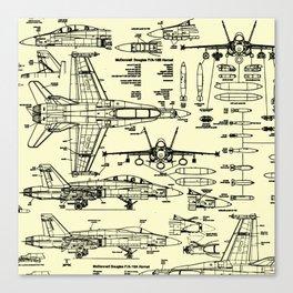 F-18 Blueprints // Parchment Canvas Print