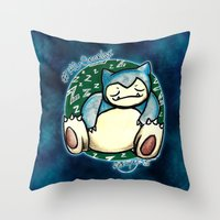 snorlax Throw Pillows featuring 142 - Snorlax by Lyxy