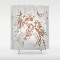 animal skull Shower Curtains featuring Bronze Animal Skull Abstract Vector Art by Orlberos Skull Designs