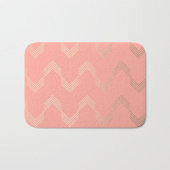 Simply Deconstructed Chevron White Gold Sands on Salmon Pink Bath Mat