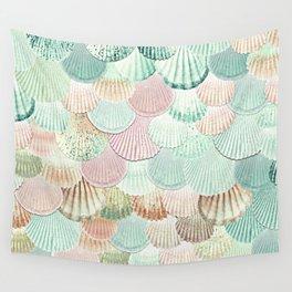 MERMAID SHELLS - MINT & ROSEGOLD Wall Tapestry