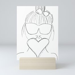 Sketch of Girl With Sunglasses and a Big Heart! Cute Girl! Mini Art Print