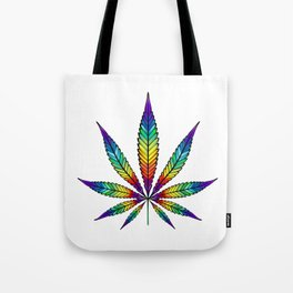 Cannabis Rainbow Leaf Tote Bag