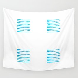 Turquoise blue stripes, hand painted rough texture Wall Tapestry