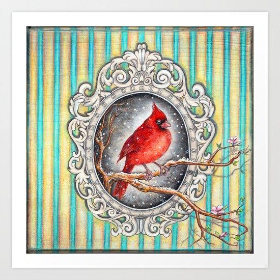 RED CARDINAL in FRAME Art Print