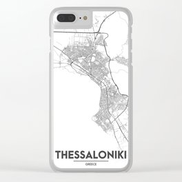 Minimal City Maps - Map Of Thessaloniki, Greece. Clear iPhone Case