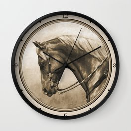 Western Quarter Horse Old Photo Effect Wall Clock