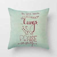 lungs Throw Pillows featuring LUNGS by Lex Bleile