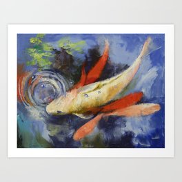 Koi and Water Ripples Art Print
