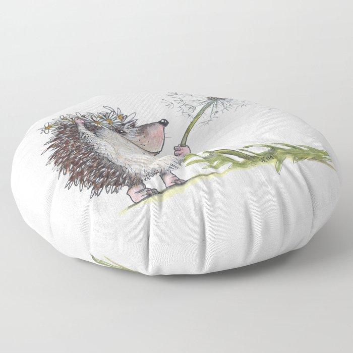 Hedgehog & Dandelion Floor Pillow