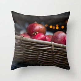 Pomegranate basket Throw Pillow