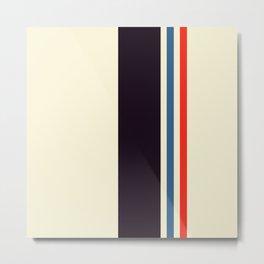 Classic Minimal Racing Car Retro Stripes - Furaribi Metal Print