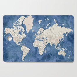 Light brown and blue watercolor detailed world map Cutting Board