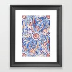 Boho Flower Burst in Red and Blue Framed Art Print