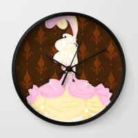 marie antoinette Wall Clocks featuring Marie Antoinette  by Delucienne Maekerr