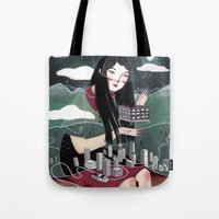 """vancouver Tote Bags featuring """"Vancouver"""" Illustration by Julia Iredale"""