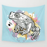frog Wall Tapestries featuring Melodic Frog by casiegraphics