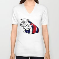 british flag V-neck T-shirts featuring British Bulldog by Pancho the Macho