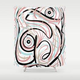 Swirly_Scrib Shower Curtain