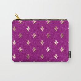 Dark Purple Rose Gold Unicorn Pattern Carry-All Pouch
